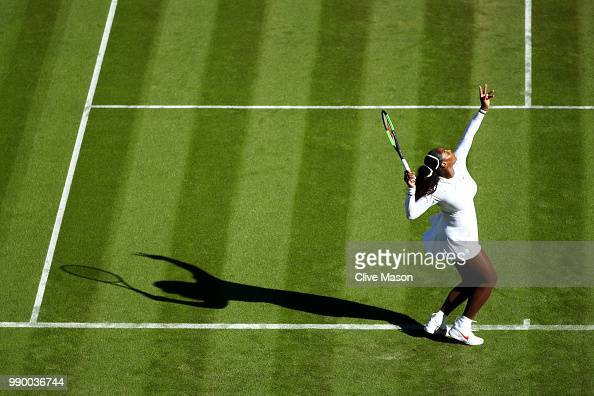 Serena Williams of The United States serves against Arantxa Rus of The Netherlands during their Ladies' Singles first round match on day one of the...
