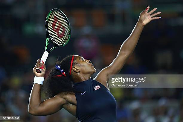Serena Williams of the United States serves against Elina Svitolina of Ukraine during a Women's Singles Third Round match on Day 4 of the Rio 2016...