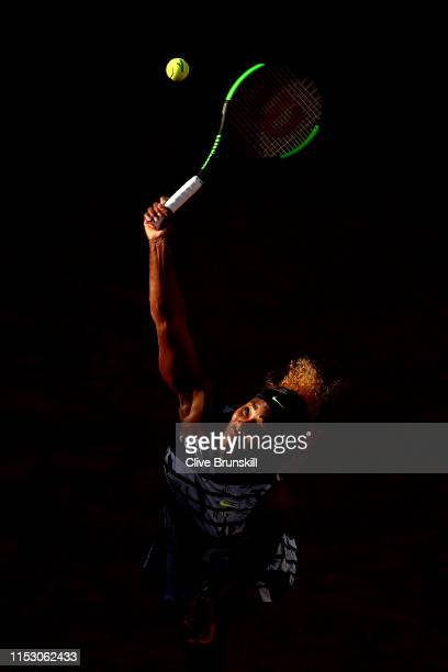 Serena Williams of The United States serves during her ladies singles third round match against Sofia Kenin of The United States during Day seven of...