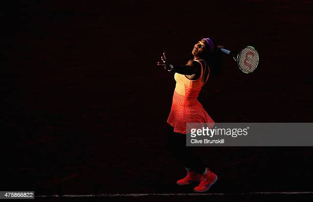 Serena Williams of the United States serves during her Women's Semi final match against Timea Bacsinszky of Switzerland on day twelve of the 2015...