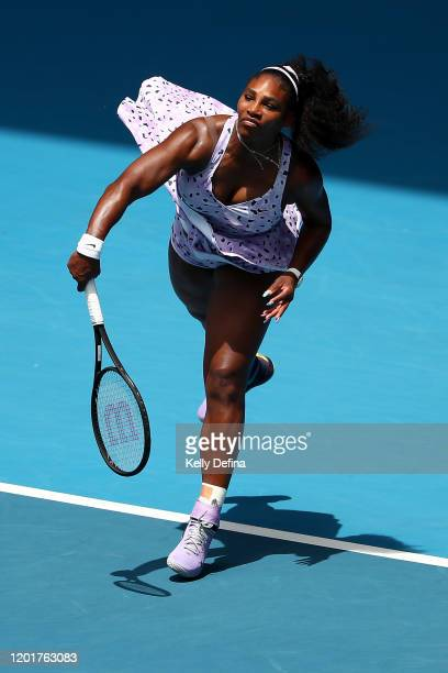 Serena Williams of the United States serves during her Women's Singles third round match against Qiang Wang of China on day five of the 2020...