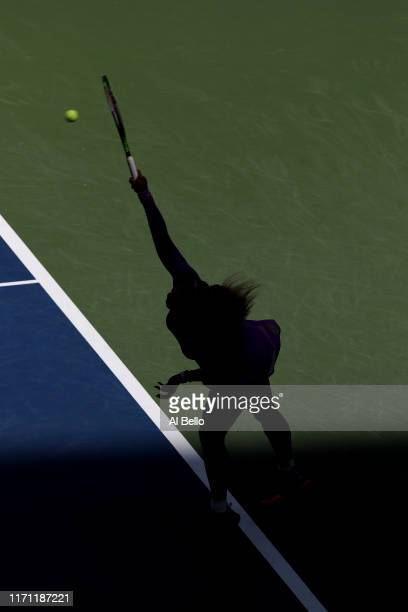 Serena Williams of the United States serves during of her Women's Singles round three match against Karolina Muchova of the Czech Republic on day...