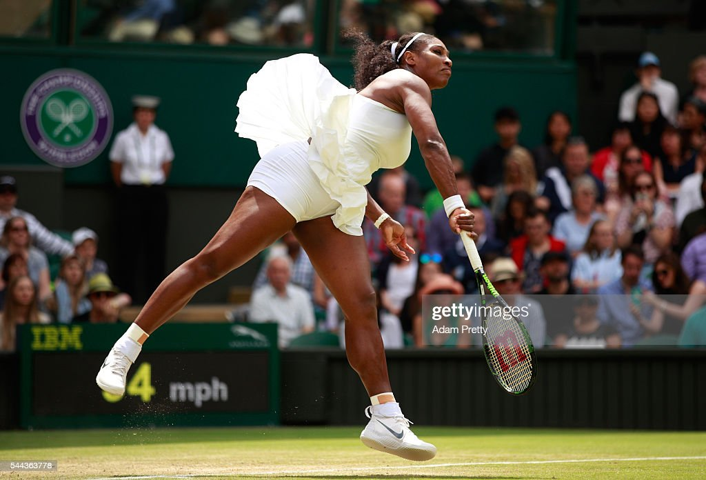 Serena Williams of The United States serves during the Ladies Singles third round match against Annika Beck of Germany on Middle Sunday of the Wimbledon Lawn Tennis Championships at the All England Lawn Tennis and Croquet Club on July 3, 2016 in London, England.