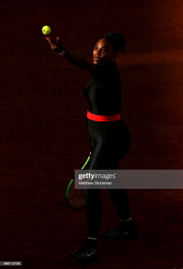 Serena Williams of The United States serves during the ladies singles third round match against Julia Georges of Germany during day seven of the 2018 French Open at Roland Garros on June 2, 2018 in Paris, France.