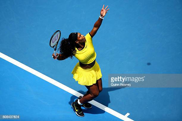 Serena Williams of the United States serves in her first round match against Camila Giorgi of Italy during day one of the 2016 Australian Open at...