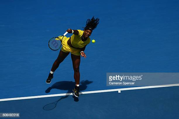 Serena Williams of the United States serves in her fourth round match against Margarita Gaspatryan of Russia during day seven of the 2016 Australian...