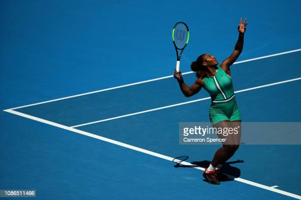 Serena Williams of the United States serves in her quarter final match against Karolina Pliskova of Czech Republic during day 10 of the 2019...