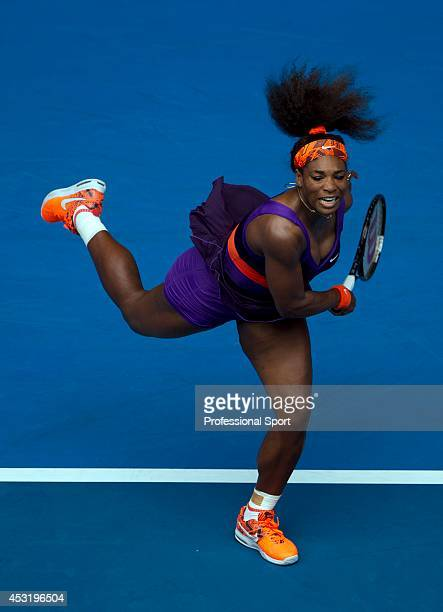 Serena Williams of the United States serves in her second round match against Garbine Muguruza of Spain during day four of the 2013 Australian Open...