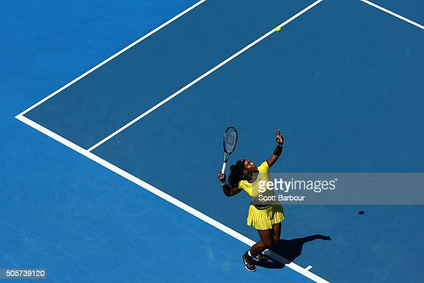 Serena Williams of the United States serves in her second round match against SuWei Hsieh of Chinese Taipei during day three of the 2016 Australian...