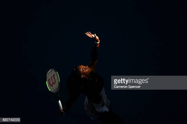 Serena Williams of the United States serves in her semifinal match against Mirjana LucicBaroni of Croatia on day 11 of the 2017 Australian Open at...