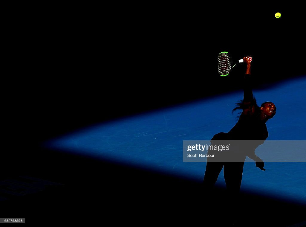 Serena Williams of the United States serves in her semifinal match against Mirjana Lucic-Baroni of Croatia on day 11 of the 2017 Australian Open at Melbourne Park on January 26, 2017 in Melbourne, Australia.