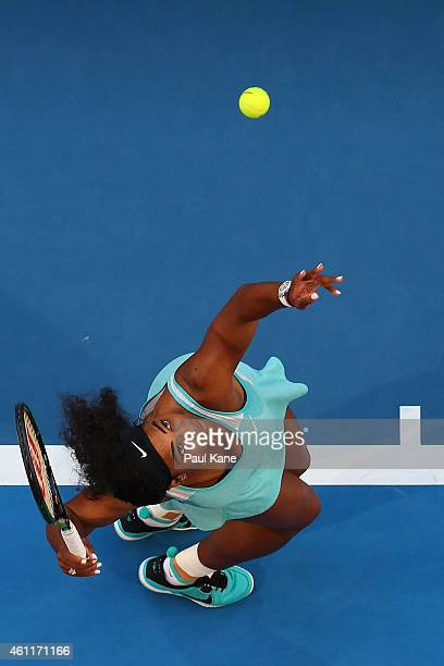 Serena Williams of the United States serves in her singles match against Lucie Safarova of the Czech Republic during day five of the 2015 Hopman Cup...