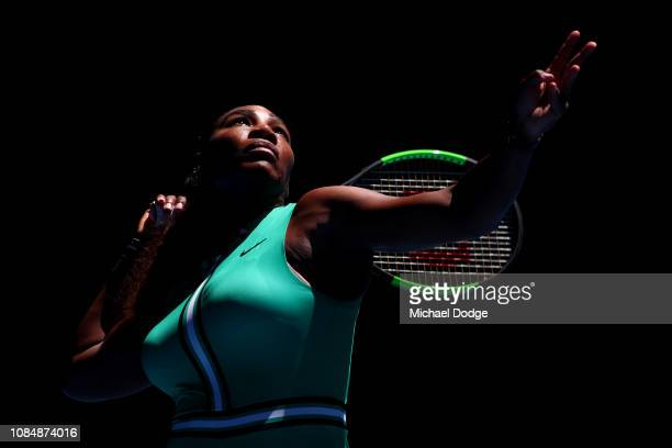 Serena Williams of the United States serves in her third round match against Dayana Yastremska of Ukraine during day six of the 2019 Australian Open...