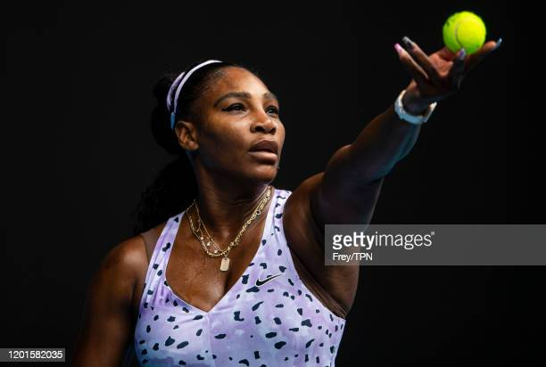 Serena Williams of the United States serves in her third round match against Qiang Wang of China on day five of the 2020 Australian Open at Melbourne...
