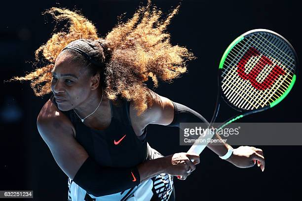 Serena Williams of the United States serves in her third round match against Nicole Gibbs of the Unites States on day six of the 2017 Australian Open...