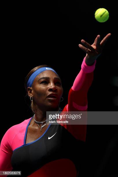 Serena Williams of the United States serves in her Women's Singles fourth round match against Aryna Sabalenka of Belarus during day seven of the 2021...