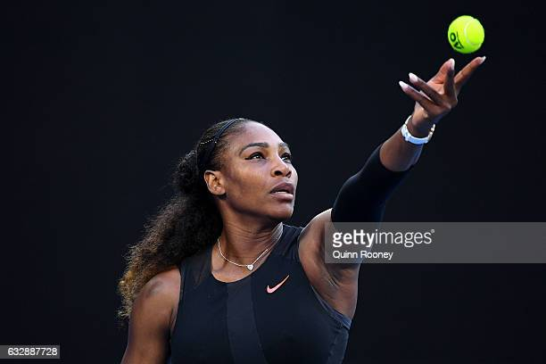 Serena Williams of the United States serves in her Women's Singles Final match against Venus Williams of the United States on day 13 of the 2017...
