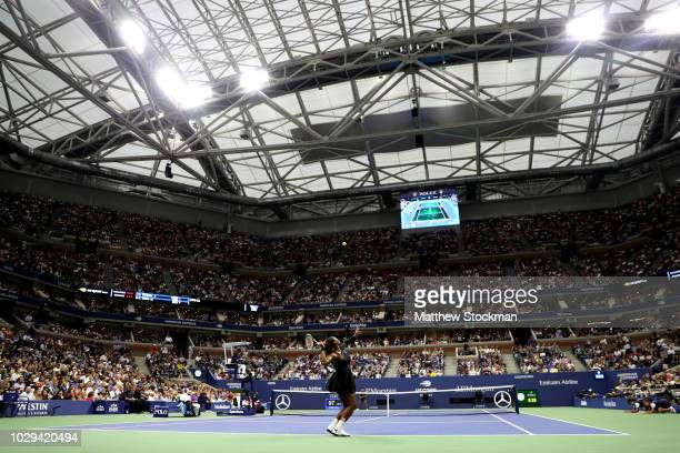 Serena Williams of the United States serves the ball during her Women's Singles finals match against Naomi Osaka of Japan on Day Thirteen of the 2018...