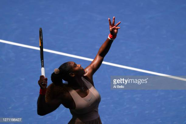 Serena Williams of the United States serves the ball during her Women's Singles fourth round match against Maria Sakkari of Greece on Day Eight of...