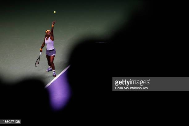 Serena Williams of the United States serves to Li Na of China in their Women's Final match during day six of the TEB BNP Paribas WTA Championships at...
