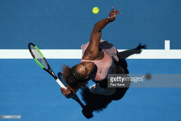 Serena Williams of the United States serves to Maria Sakkari of Greece during day three of the 2019 Hopman Cup at RAC Arena on December 31 2018 in...