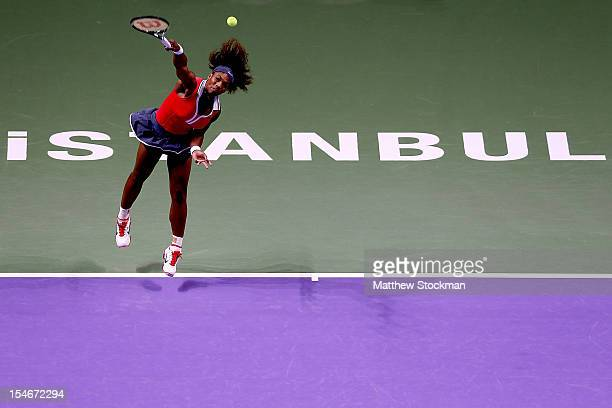 Serena Williams of the United States serves to Na Li of China in round robin play during the TEB BNP Paribas WTA Championships at the Sinan Erdem...