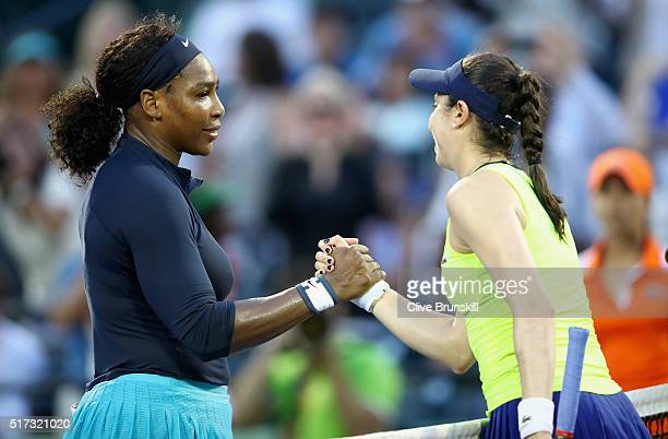 Serena Williams of the United States shakes hands at the net after her three set victory against Christina McHale of the United States in their...