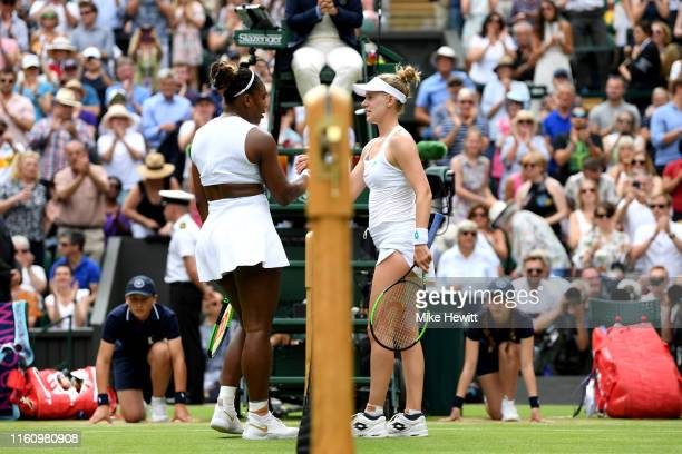 Serena Williams of the United States shakes hands with Alison Riske of the United States following victory in her Ladies' Singles Quarter Final match...