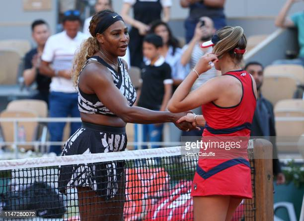 Serena Williams of the United States shakes hands with Sofia Kenin of the United States following Kenin's third round victory in 2 sets during day 7...