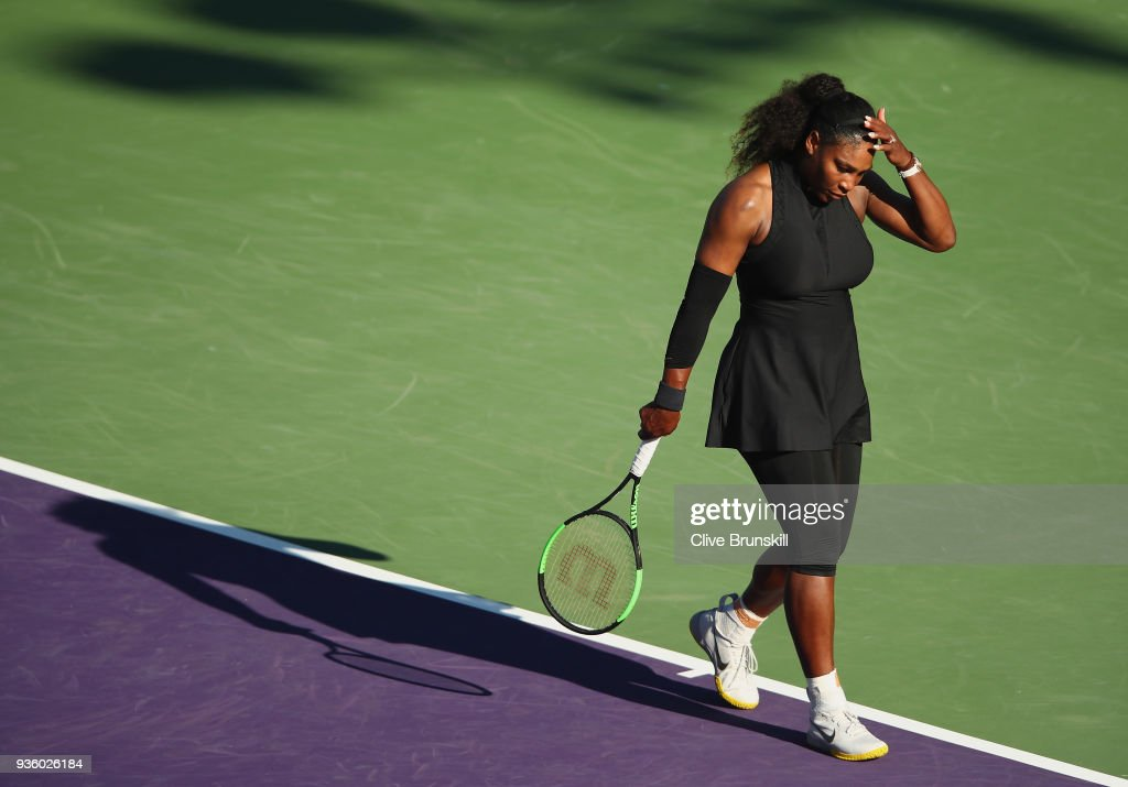Serena Williams of the United States shows her dejection against Naomi Osaka of Japan in their first round match during the Miami Open Presented by Itau at Crandon Park Tennis Center on March 21, 2018 in Key Biscayne, Florida.