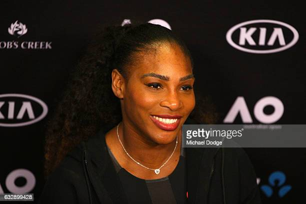 Serena Williams of the United States speaks to the media during a press conference after winning the Women's Singles Final against Venus Williams of...