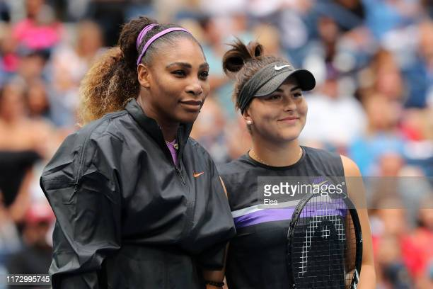 Serena Williams of the United States stands alongside Bianca Andreescu of Canada before their Women's Singles final match on day thirteen of the 2019...