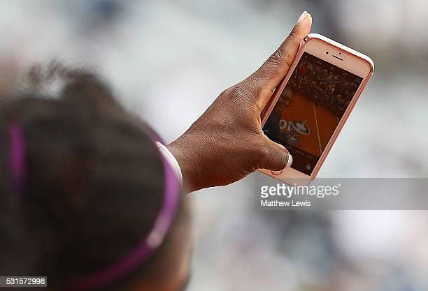 Serena Williams of the United States takes a selfie after winning against Madison Keys of the United States during the Womens Singles Finalduring day...
