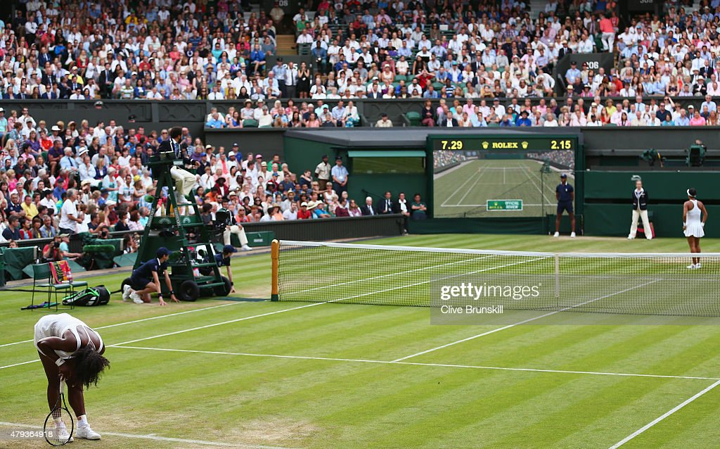 Serena Williams of the United States waits for the challenge on the line call in her Ladies' Singles Third Round match against Heather Watson of Great Britain during day five of the Wimbledon Lawn Tennis Championships at the All England Lawn Tennis and Croquet Club on July 3, 2015 in London, England.
