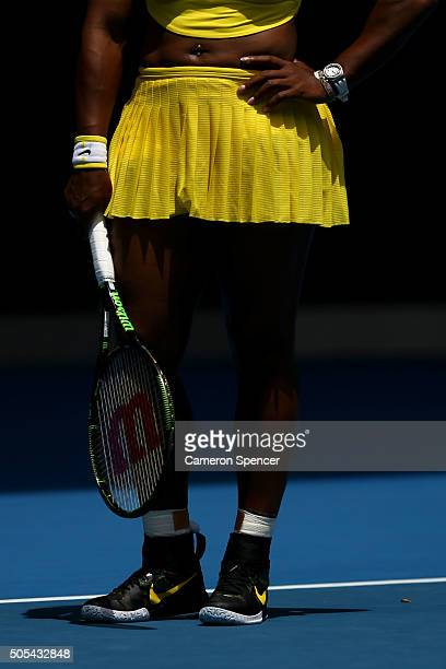 Serena Williams of the United States waits to return serve in her first round match against Camila Giorgi of Italy during day one of the 2016...