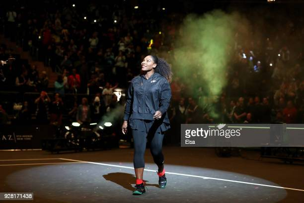 Serena Williams of the United States walks into the arena as she is introduced before the start of the Tie Break Tens at Madison Square Garden on...