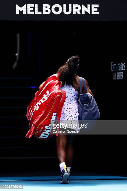 Serena Williams of the United States walks off court after losing her Women's Singles third round match against Qiang Wang of China on day five of...