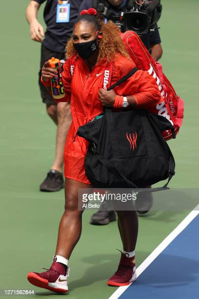 Serena Williams of the United States walks on court before her Women's Singles quarterfinal match against Tsvetana Pironkova of Bulgaria on Day Ten...
