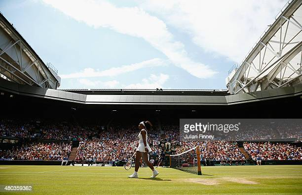 Serena Williams of the United States walks onto court in the Final Of The Ladies' Singles against Garbine Muguruza of Spain during day twelve of the...