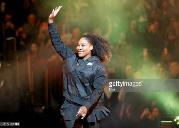 Serena Williams of the United States waves to the fans as she is introduced before the start of the Tie Break Tens at Madison Square Garden on March...