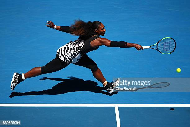 Serena Williams of the Unites States plays a backhand in her quarterfinal match against Johanna Konta of Great Britain on day 10 of the 2017...