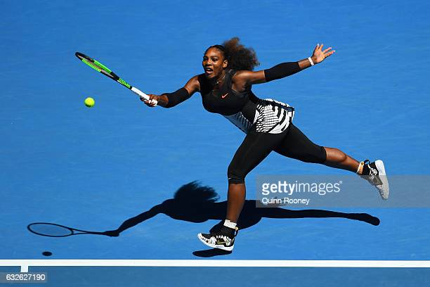 Serena Williams of the Unites States plays a forehand in her quarterfinal match against Johanna Konta of Great Britain on day 10 of the 2017...