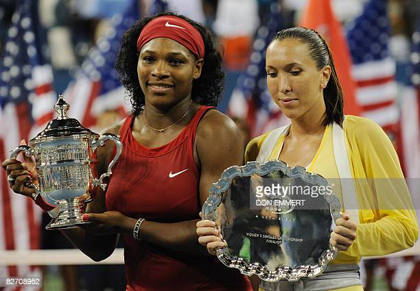 Serena Williams of the US and Jelena Jankovic of Serbia receive their trophies after the women's final at the US Open tennis tournament September 7...