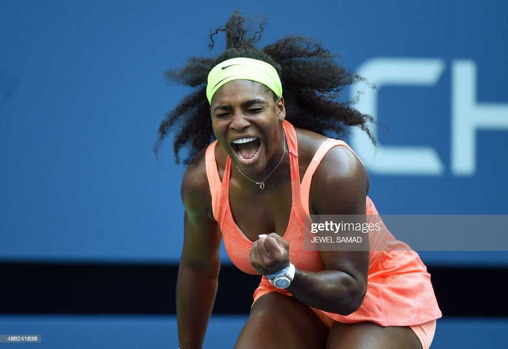 Serena Williams of the US celebrates winning a point against Kiki Bertens of the Netherlands during their 2015 US Open Women's singles round 2 match at USTA Billie Jean King National Tennis Center in New York on September 2, 2015.