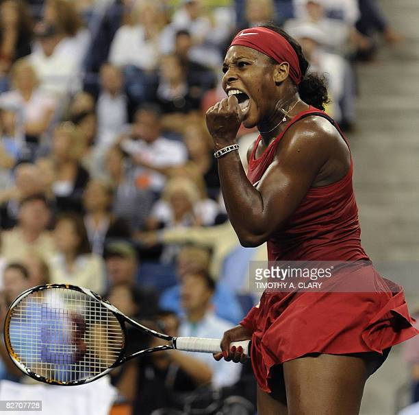 Serena Williams of the US during her finals match to Jelena Jankovic of Serbia at the US Open tennis tournament on September7, 2008 at the USTA...