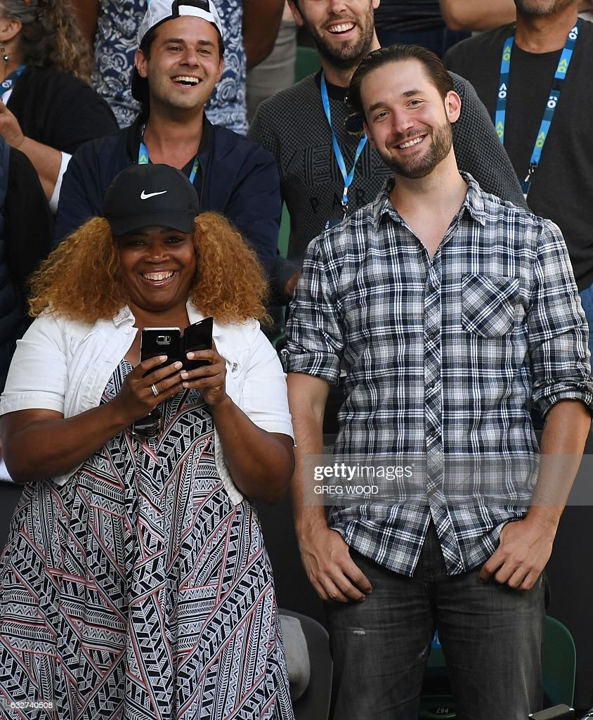 Serena Williams of the US' fiance Reddit co-founder Alexis Ohanian