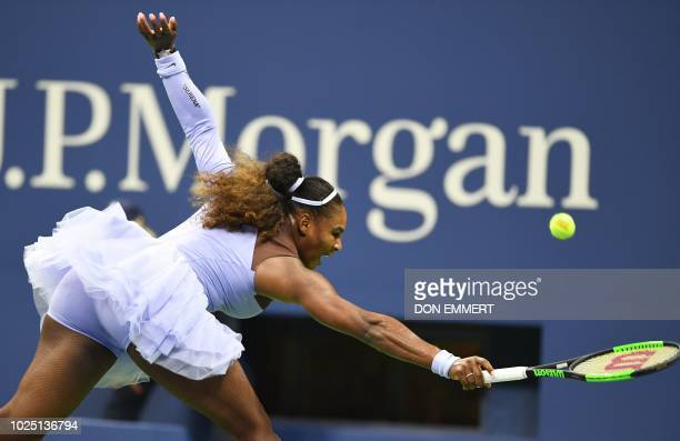 Serena Williams of the US hits a return to Carina Witthoeft of Germany during Day 3 of the 2018 US Open Women's Singles match at the USTA Billie Jean...