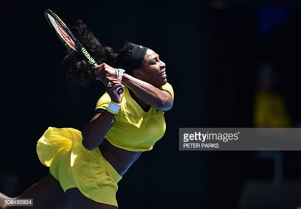 TOPSHOT Serena Williams of the US plays a backhand return during her women's singles match against Russia's Margarita Gasparyan on day seven of the...