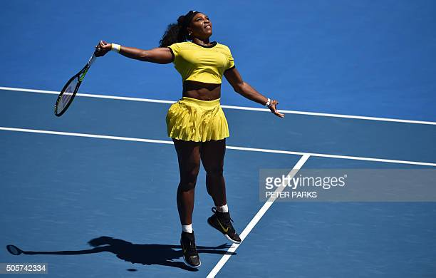 Serena Williams of the US plays a forehand return during her women's singles match against Taiwan's Hsieh SuWei on day three of the 2016 Australian...