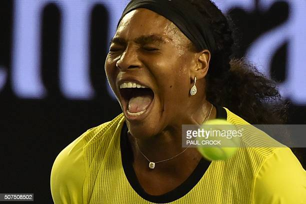 Serena Williams of the US reacts as she plays against Germany's Angelique Kerber during their women's singles final on day thirteen of the 2016...